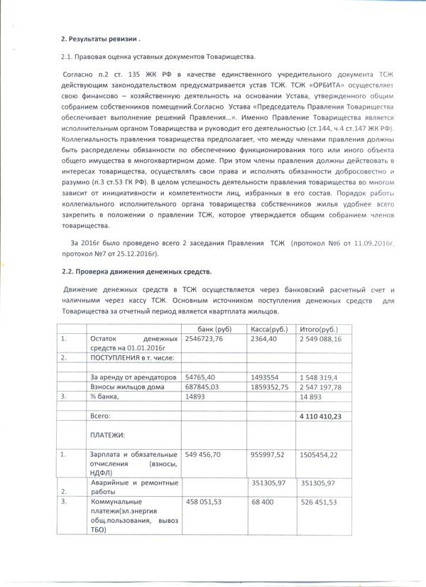 3 АКТ ревизии финансово-хозяйственной деятельности ТСЖ 2016